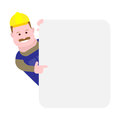 Builder looks out of behind the wall illustration on white background Royalty Free Stock Image