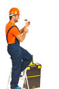 Builder man with hammer Stock Photo