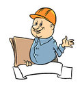 Builder merry isolated illustration cartoon Stock Image