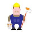 Builder painter illustration of on white background Royalty Free Stock Photos