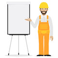 Builder points to flipchart illustration format eps Stock Photo