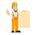 Builder shows clean sheet of paper illustration format eps Royalty Free Stock Photos