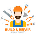 Builder with tools: build and repair flat vector construction
