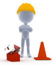 Builder, toon worker with tools Stock Images
