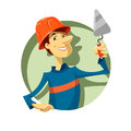 Builder with trowel vector illustration on white background eps transparent objects and opacity masks used for shadows and lights Royalty Free Stock Image