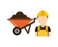 Builder with wheelbarrow isolated icon design