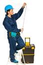 Builder woman making measurements Stock Image