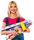 Builder woman with wallpaper roll isolated Stock Photo