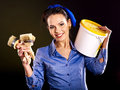 Builder woman witn wallpaper fashion Royalty Free Stock Image