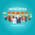 Construction builders people set flat 3d web isometric concept