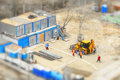 Builders construction site tilt shift effect Royalty Free Stock Photo