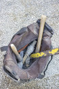 Builders tool bag with rusty tools at construction site Stock Images
