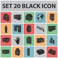 Building and architecture black icons in set collection for design.The building and dwelling vector isometric symbol