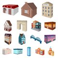 Building and architecture cartoon icons in set collection for design.The building and dwelling vector isometric symbol