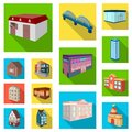 Building and architecture flat icons in set collection for design.The building and dwelling vector isometric symbol