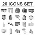 Building and architecture monochrome icons in set collection for design.The building and dwelling vector isometric