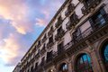 Building in barcelona facade with balconies against beautiful sky Royalty Free Stock Photos