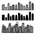 Building black and white icon set illustration eps Stock Images