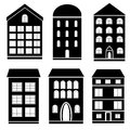 Building black and white set of buildings Royalty Free Stock Images