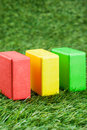 Building blocks the on the lawn Royalty Free Stock Image