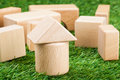 Building blocks the on the lawn Stock Photography