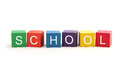 Building blocks spelling school isolated on white background Stock Photos