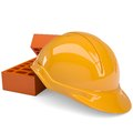 Building bricks and helmet isolated render on a white background Stock Photo