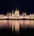 The building of the Budapest Parlament at night from the Buda co Royalty Free Stock Photo