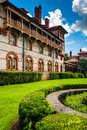 Building and bushes at Flagler College, St. Augustine, Florida. Royalty Free Stock Photo