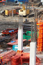 Building cement pillar in construct site Royalty Free Stock Photos