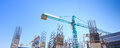 Building cement pillar in construction site with blue sky Royalty Free Stock Photo
