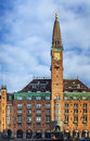 Building on city hall square copenhagen with tower in central denmark Stock Photo