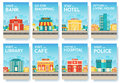Building city information cards set. Architecture template of flyear, magazines, poster, book cover, banners Royalty Free Stock Photo
