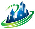 Building city logo a hi rise icon Stock Photography