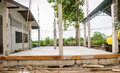 Building construct site area cement pillar and wood in Stock Photography