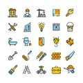Building Construction Elements and Tools Color Thin Line Icon Set. Vector Royalty Free Stock Photo