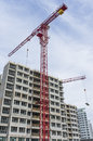 Building construction residential with tower crane Stock Image