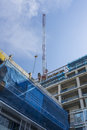 Building construction residential with tower crane Stock Photo