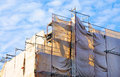 Building construction site covered for safety Royalty Free Stock Images