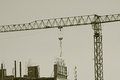 Building crane on a construction Stock Photography