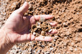 Building crushed stone with sand in hand Royalty Free Stock Photo