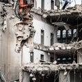 Building Demolition By Machine...