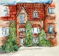 Building drawing sketch pencil art design illustration children`s multi-colored brick house