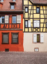 Building facade half timbered house in colmar alsace france Royalty Free Stock Image
