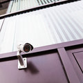 Building facade with a surveillance camera Royalty Free Stock Image