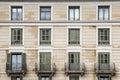 Building facade, 12 windows. Twentieth-century style. Royalty Free Stock Photo
