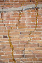 Building fail brick wall repairs with spray foam Royalty Free Stock Photography