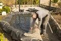 Building a garden pond Royalty Free Stock Photo