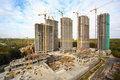 Building of high-rise apartment in the forest zone Stock Photography
