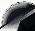 Building highlights its variable surfaces geometric lines and curves a diagonal shot of a Royalty Free Stock Image